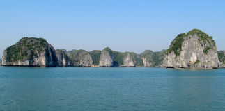 Limestone islands in HaLong Bay sea Royalty Free Stock Photos
