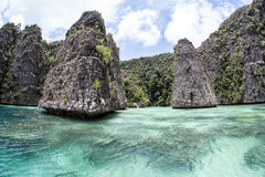 Limestone Islands and Lagoon Royalty Free Stock Image