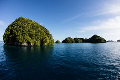 Limestone Islands in Palau`s Lagoon Stock Images