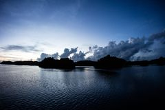 Limestone Islands in Palau`s Lagoon at Sunrise Stock Images
