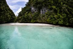 Limestone Islands and Tropical Lagoon in Palau Stock Photos