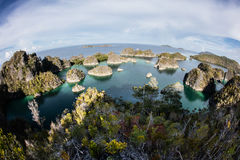 Limestone Islands and Tropical Lagoon in Raja Ampat Royalty Free Stock Photos