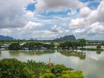 Limestone. Kyauk Ka Lat Pagoda lake near Hpa An, Myanmar Royalty Free Stock Images