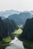 Limestone Landscape with Flooded Rice Paddies, Mua Caves, Vietnam. Limestone Landscape with Flooded Rice Paddies, Mua Caves Viewpoint, Tam Coc, Vietnam Royalty Free Stock Images