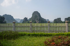 Limestone Landscape with Rice Paddies and Fence, Mua Caves. Viewpoint, Tam Coc, Vietnam Royalty Free Stock Photography
