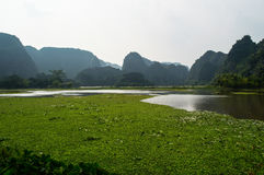 Limestone Landscape with River and Water Lilies, Vietnam. Limestone Landscape with River and Water Lilies, Tam Coc, Vietnam Stock Photos