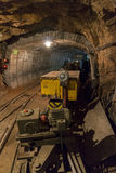 Limestone mine with train and locomotive Royalty Free Stock Images