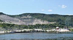 Limestone mine on Volga river Stock Photos