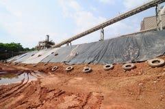 Limestone mining and transportation Stock Photo