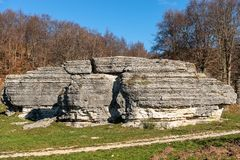 Limestone Monoliths - Karst Erosion Formations Lessinia Italy. Limestone Monoliths - Unusual karst erosion formations in the Regional Natural Park of Lessinia stock images