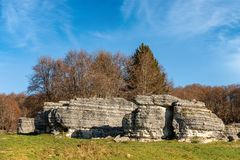 Limestone Monoliths - Karst Erosion Formations Lessinia Italy. Limestone Monoliths - Unusual karst erosion formations in the Regional Natural Park of Lessinia royalty free stock photo