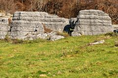 Limestone Monoliths - Karst Erosion Formations Lessinia Italy. Limestone Monoliths - Unusual karst erosion formations in the Regional Natural Park of Lessinia royalty free stock photography