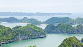 Limestone mountain islands, Halong Bay, Vietnam Royalty Free Stock Images
