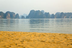 Limestone mountain islands, Halong Bay, Vietnam Royalty Free Stock Image