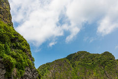 Limestone mountains and blue sky Stock Images