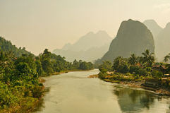 Limestone Mountains and River Stock Photo