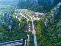 Limestone mountains in Sam Roi Yot National Park, Thailand. dron Royalty Free Stock Photos