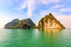 Limestone outcrops, Phang Nga Bay, Thailand. Limestone outcrops, scarps, islands Stock Photo