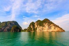 Limestone outcrops, Phang Nga Bay, Thailand. Limestone outcrops, scarps, islands Stock Photos