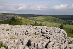 Limestone pavement. Above Malham Cove, Yorkshire Dales National Park, UK Royalty Free Stock Photos