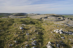 Limestone Pavement mountains. Viewed from the top of Mullaghmore, The Burren National Park, Co. Clare, Ireland Royalty Free Stock Images