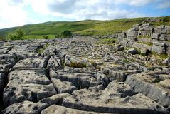 The limestone pavement at the top of Malham Cove. In the Yorkshire Dales National Park. Scenes from Harry Potter were filmed here Stock Photography