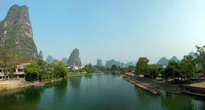 Limestone peaks in Yangshuo, Guilin, China Royalty Free Stock Photos