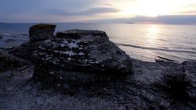 Limestone pillar at dusk stock footage