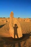 Limestone pillars with photographer shadow Royalty Free Stock Image