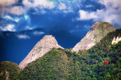 Limestone pinnacles in green wild jungle Stock Photo