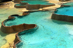 Limestone pools. Beautiful Limestone pools in Huanglong nature protection area, Sichuan province, South-West China Stock Photos