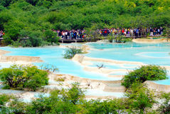 Limestone pools in Huanglong. Nature protection area, Sichuan province, South-West China Stock Photography