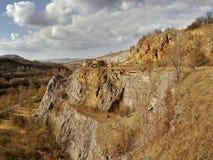 Limestone quarry. Old and abandoned limestone quarry Stock Photo