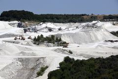 The limestone quarry in Faxe, Denmark. Fakse Kalkbrud royalty free stock photos