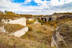 Limestone quarry in Fertorakos, Hungary royalty free stock image