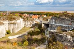 Limestone quarry in Fertorakos, Hungary with Lake Ferto stock photos