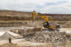 Limestone quarry industry, summer, Ukraine Royalty Free Stock Photography