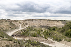 Limestone quarry industry, summer, Ukraine Stock Image