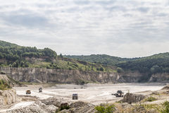 Limestone quarry industry, summer, Ukraine Stock Photos