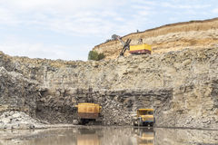 Limestone quarry industry, summer, Ukraine Stock Photo