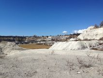 Limestone quarry landscape in spring Royalty Free Stock Photos