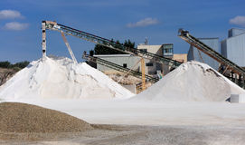 Limestone quarry. With modern crushing and screening equipment Royalty Free Stock Photo