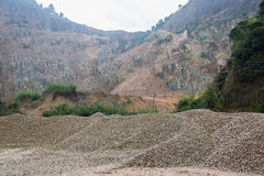 Limestone Quarry, Piles of limestone rocks. Stock Images