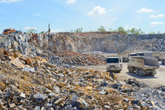 Limestone quarry and transportation Royalty Free Stock Images