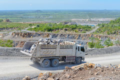 Limestone quarry and transportation Royalty Free Stock Photography