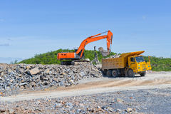 Limestone quarry and transportation Stock Photos