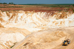 Limestone quarry with truck Royalty Free Stock Photo