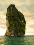 Limestone rock in the andaman sea. portrait shot. Solitaire limestone rock. located in phang nga bay in the Andaman Sea. Thailand Royalty Free Stock Photography