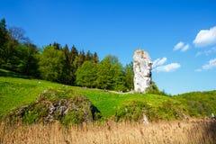 Limestone rock called Bludgeon of Hercules near Castle Pieskowa Skala Royalty Free Stock Image