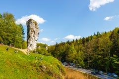 Limestone rock called Bludgeon of Hercules near Castle Pieskowa Skala, Krakow, Poland Royalty Free Stock Images